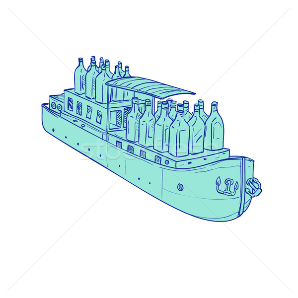 Gin Bottles on Barge Boat Drawing Stock photo © patrimonio