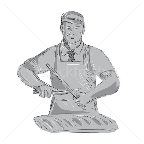 Vintage Butcher Sharpen Knife Drawing Stock photo © patrimonio