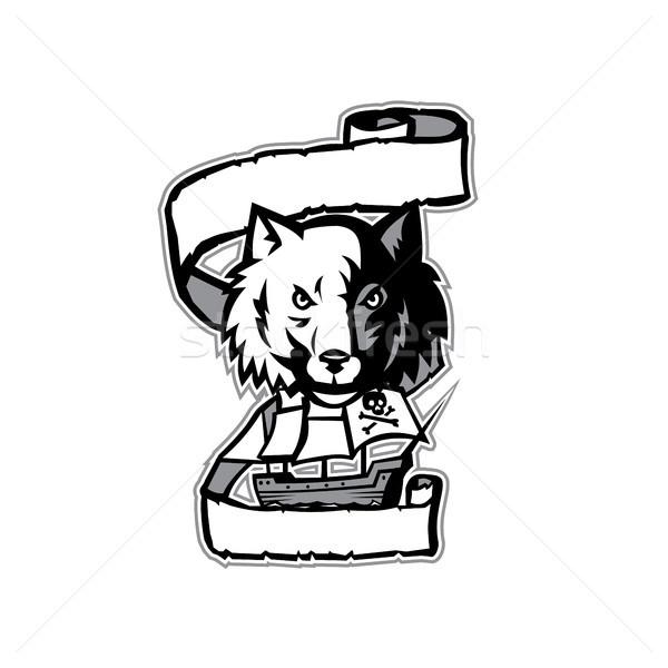 Loup tête pirate navire défiler rétro Photo stock © patrimonio