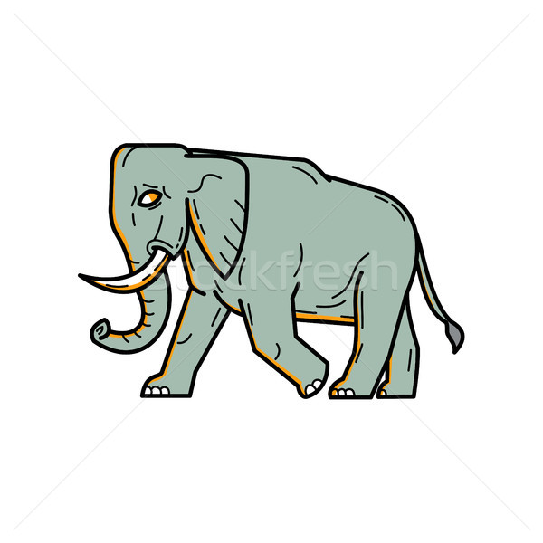 African Elephant Walking Mono Line Art Stock photo © patrimonio