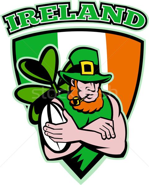 Stock photo: Irish leprechaun rugby player shield Ireland