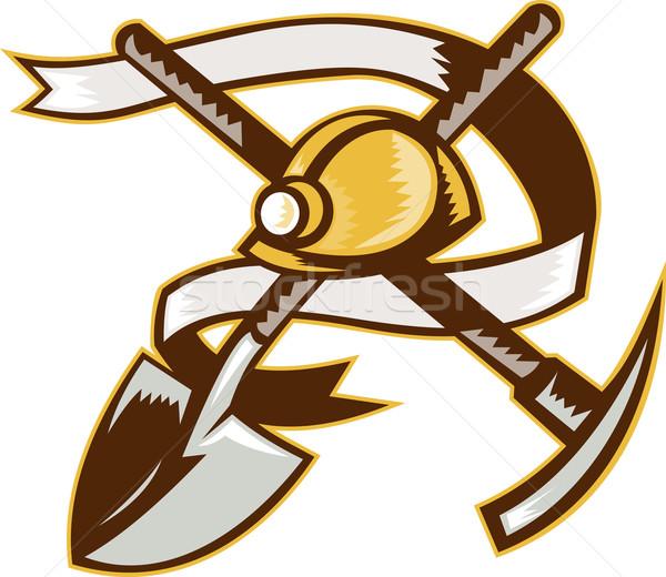 coal miner hardhat spade shovel pickax Stock photo © patrimonio