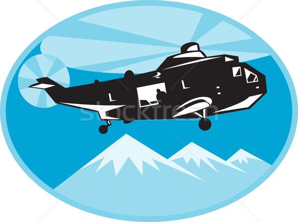 Helicóptero pesquisar resgatar ilustração montanhas conjunto Foto stock © patrimonio