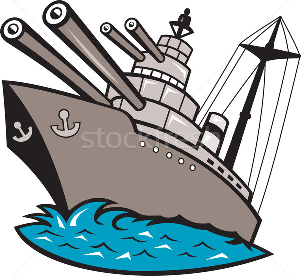 Csatahajó csónak nagy fegyverek illusztráció hajó Stock fotó © patrimonio