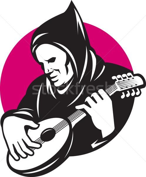Hooded Man Playing Banjo Guitar Stock photo © patrimonio