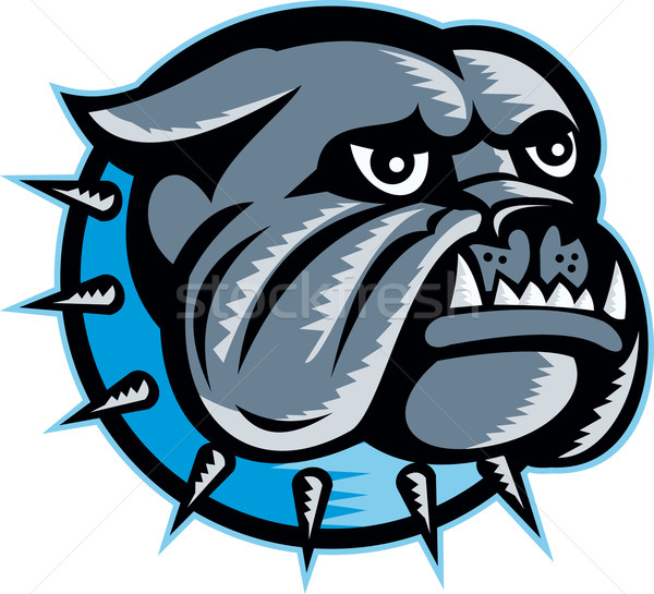 Bulldog cane testa mascotte illustrazione retro Foto d'archivio © patrimonio