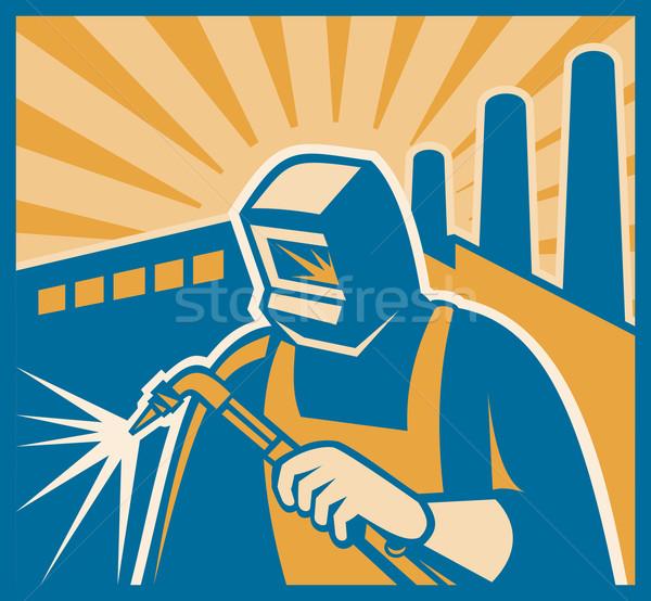 Welder Welding Factory Retro Woodcut Stock photo © patrimonio