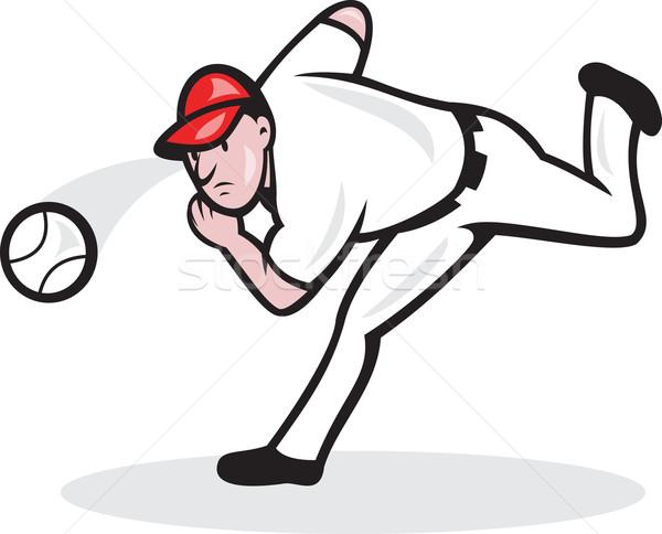 Americano jogador de beisebol ilustração bola desenho animado Foto stock © patrimonio