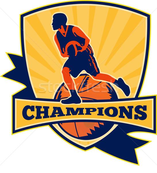 Kosárlabdázó labda retro illusztráció pajzs retró stílus Stock fotó © patrimonio