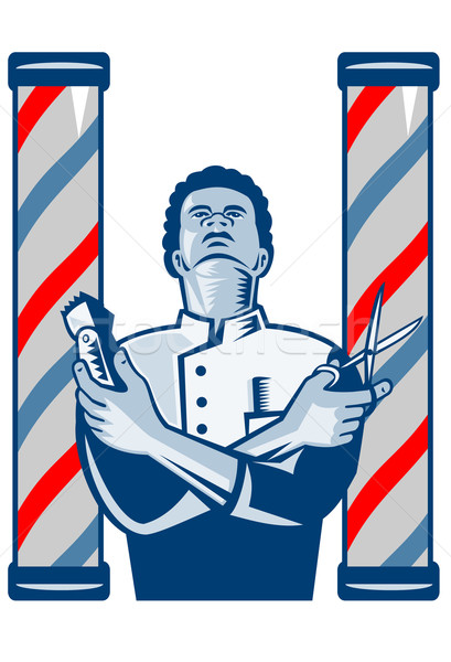 Barber With Pole Hair Clipper and Scissors Retro Stock photo © patrimonio