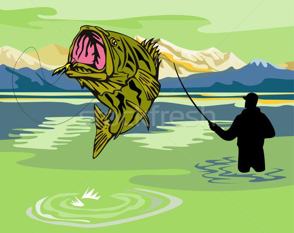 Bas atlama örnek uçmak balıkçı balık tutma Stok fotoğraf © patrimonio