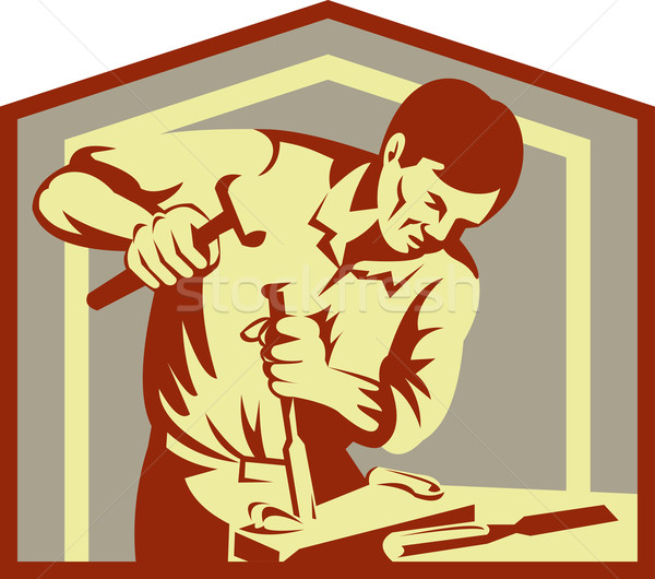 Stock photo: Carpenter at work with chisel