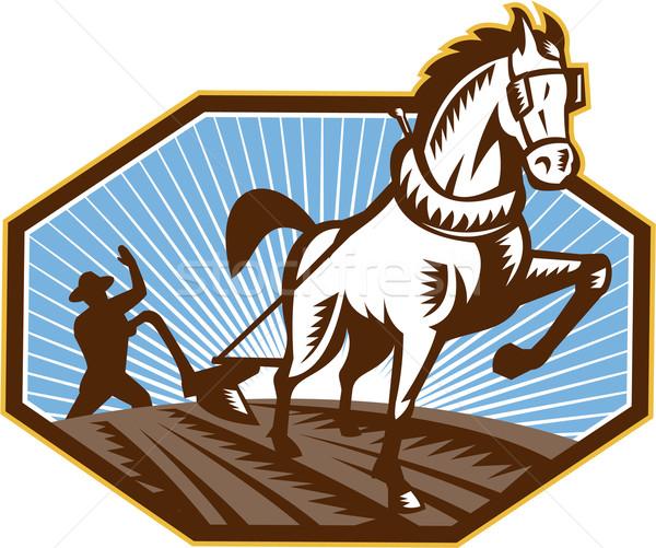Farmer and Horse Plowing Farm Retro Stock photo © patrimonio