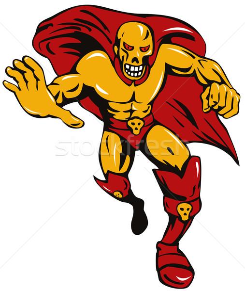 Super Bösewicht Schädel Illustration Vorderseite Ansicht Stock foto © patrimonio