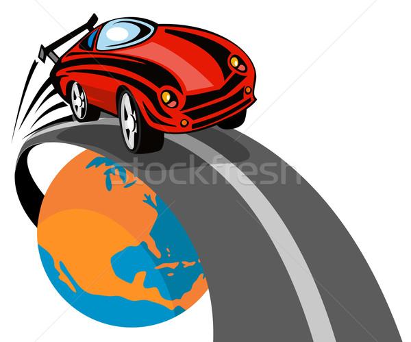 Sportautó repülés fölött földgömb illusztráció retró stílus Stock fotó © patrimonio