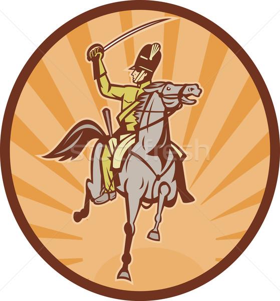 騎兵 実例 馬 剣 兵士 ヘルメット ストックフォト © patrimonio