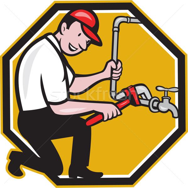 водопроводчика ремонта водопроводный кран водопроводной Cartoon иллюстрация Сток-фото © patrimonio