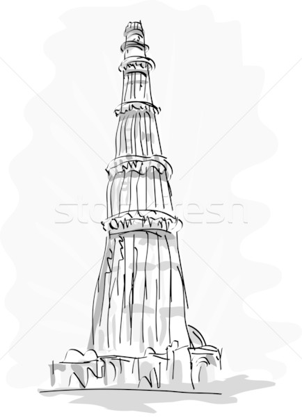 Tour Delhi Inde dessinés à la main illustration Photo stock © patrimonio