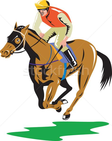 Courses de chevaux rétro illustration cheval jockey Photo stock © patrimonio