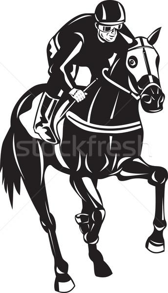 Lóverseny lovas retro illusztráció ló zsoké Stock fotó © patrimonio