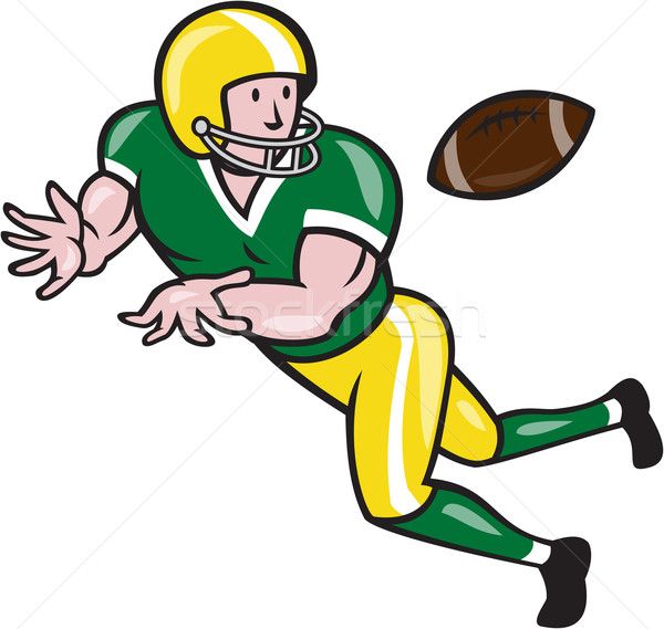 American Football Wide Receiver Catch Ball Cartoon Stock photo © patrimonio