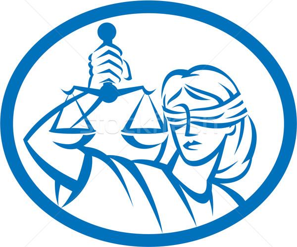 Lady с завязанными глазами Весы правосудия овальный Сток-фото © patrimonio