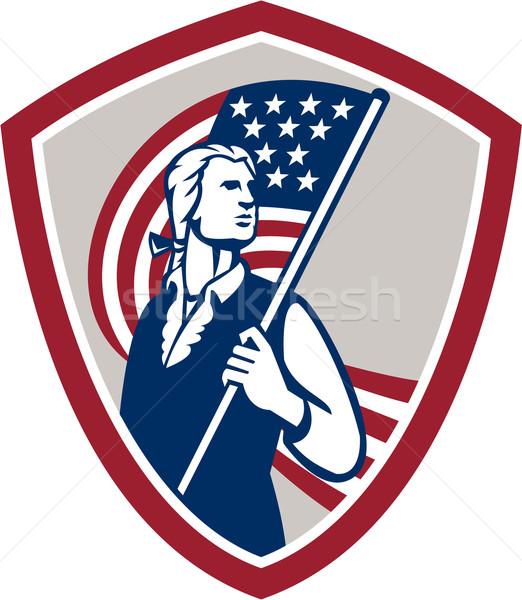 Amerikai hazafi tart USA zászló pajzs Stock fotó © patrimonio
