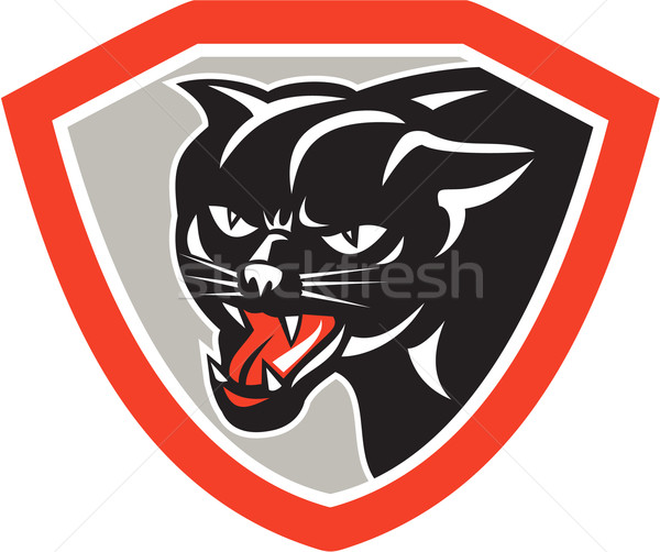 Black Cat Panther Head Shield Stock photo © patrimonio