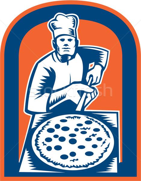 Pizza tart héj pajzs illusztráció pék Stock fotó © patrimonio