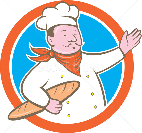 şef pişirmek daire karikatür Stok fotoğraf © patrimonio