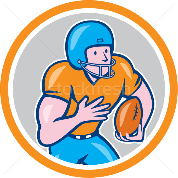 American Football Receiver Running Ball Circle Shield Stock photo © patrimonio