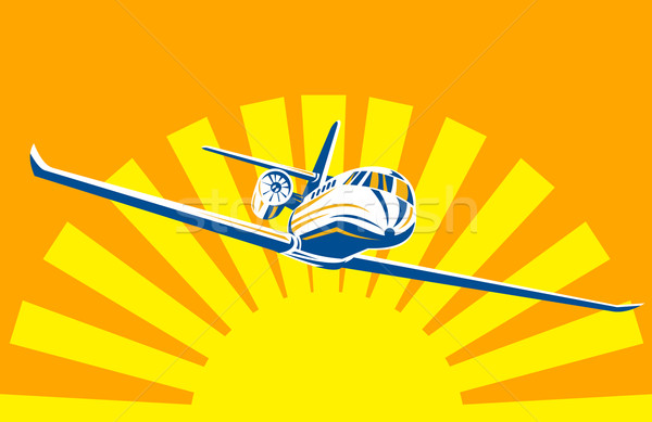 Corporate jet plane sunburst Stock photo © patrimonio