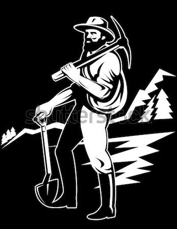 Soldaat geweer illustratie zwart wit geïsoleerd Stockfoto © patrimonio