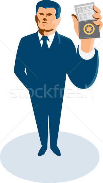 Biznesmen wywiadowca karty odznakę portfela Zdjęcia stock © patrimonio