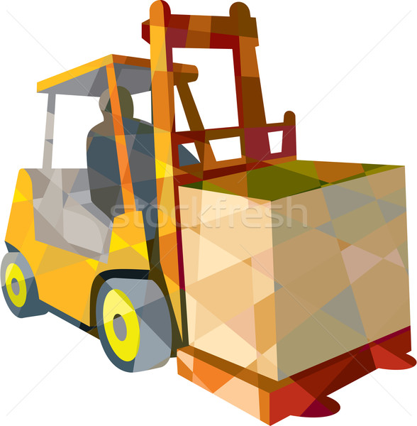 Forklift Truck Materials Handling Box Low Polygon Stock photo © patrimonio