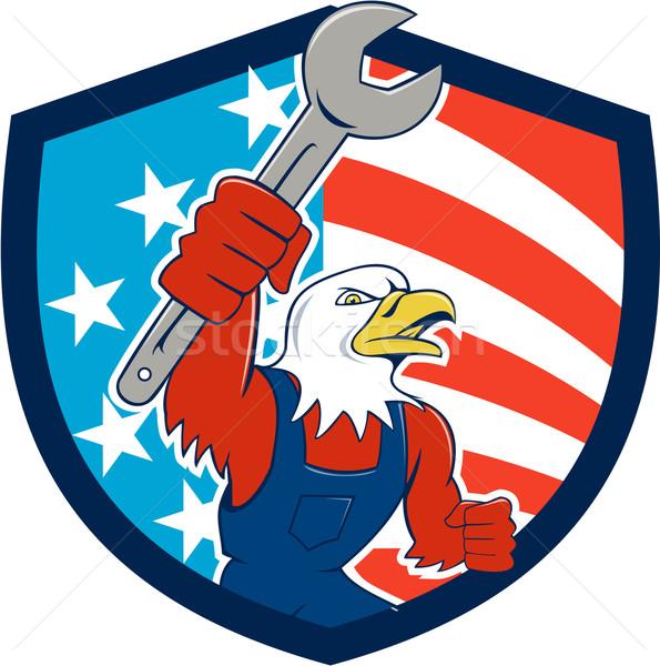 American Bald Eagle Mechanic Spanner USA Flag Shield Cartoon  Stock photo © patrimonio