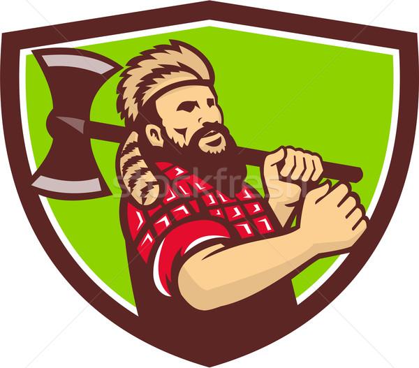 Lenhador machado escudo retro ilustração árvore Foto stock © patrimonio
