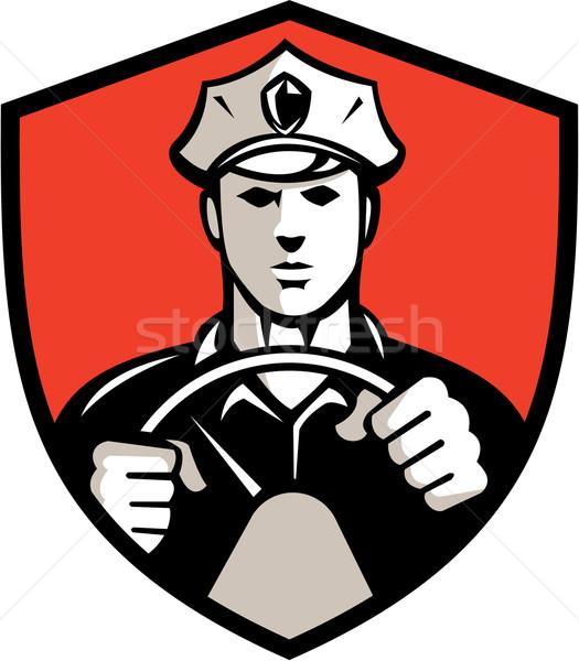 Klasszikus sofőr kormánykerék címer retro illusztráció Stock fotó © patrimonio