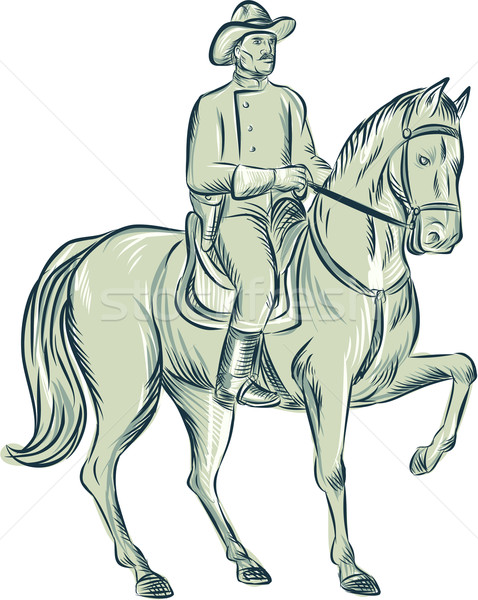 Cavalry Officer Riding Horse Etching Stock photo © patrimonio