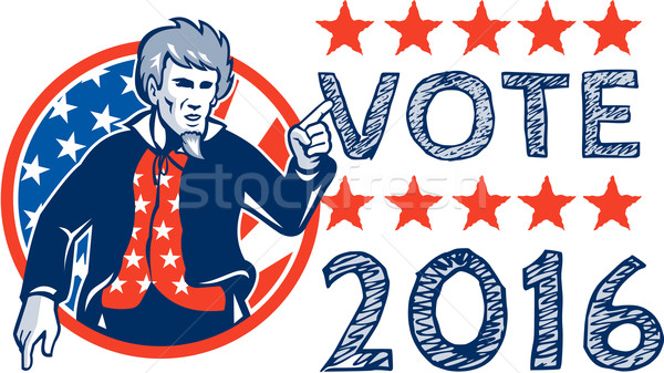 Vote 2016 Uncle Sam Pointing Circle Retro Stock photo © patrimonio