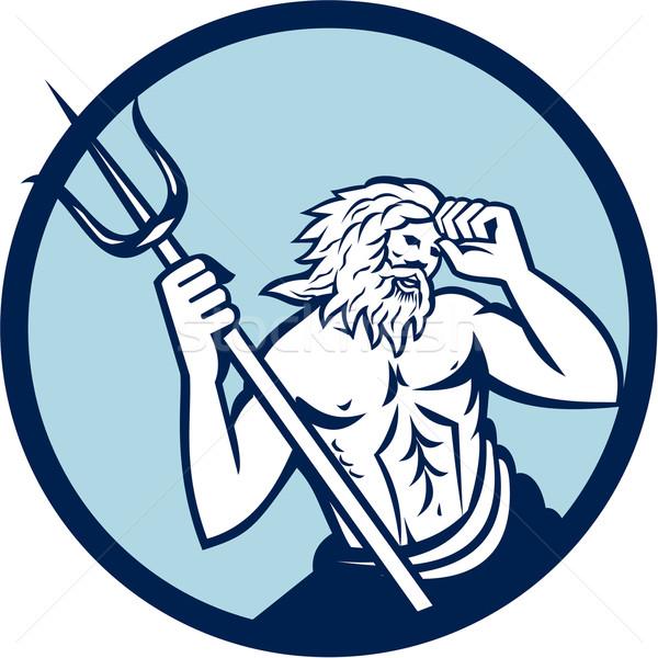 Poseidon Trident Circle Retro Stock photo © patrimonio