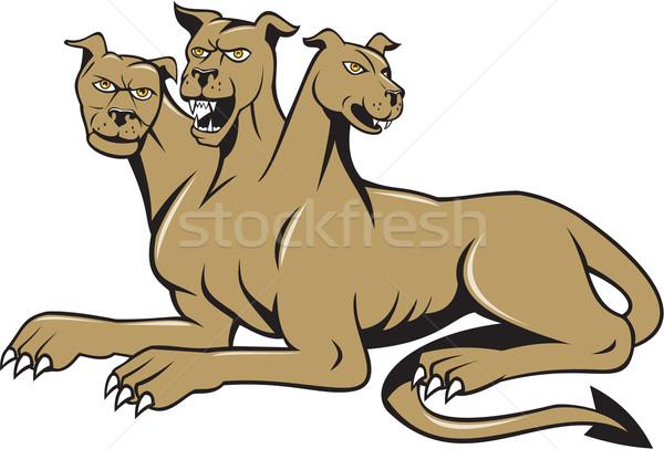Hond vergadering cartoon illustratie Grieks Romeinse Stockfoto © patrimonio