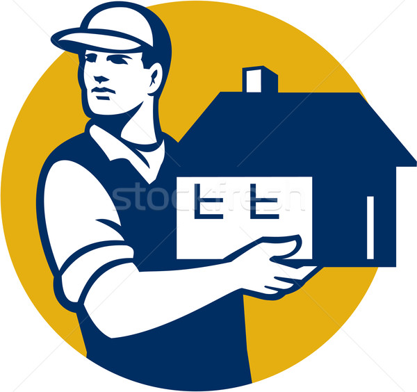 Mover Handling House Circle Retro Stock photo © patrimonio