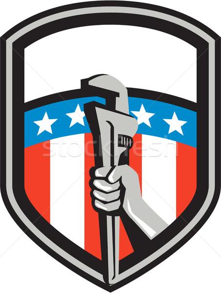 Plumber Hand Pipe Wrench USA Flag Shield Retro Stock photo © patrimonio