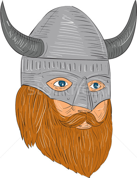 Viking Warrior Head Three Quarter View Drawing Stock photo © patrimonio