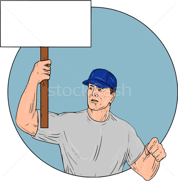Industrial Worker Activist Placard Protesting Circle Drawing Stock photo © patrimonio