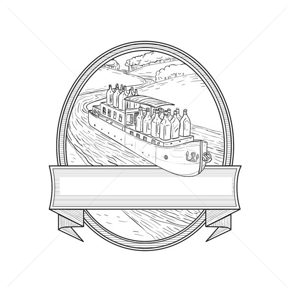 Gin Bottles on Barge River Oval Line Drawing Stock photo © patrimonio