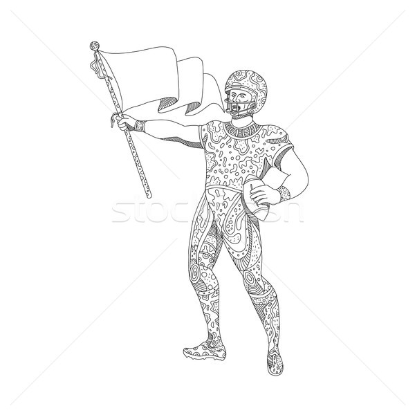 Quarterback Holding Flag Doodle Stock photo © patrimonio