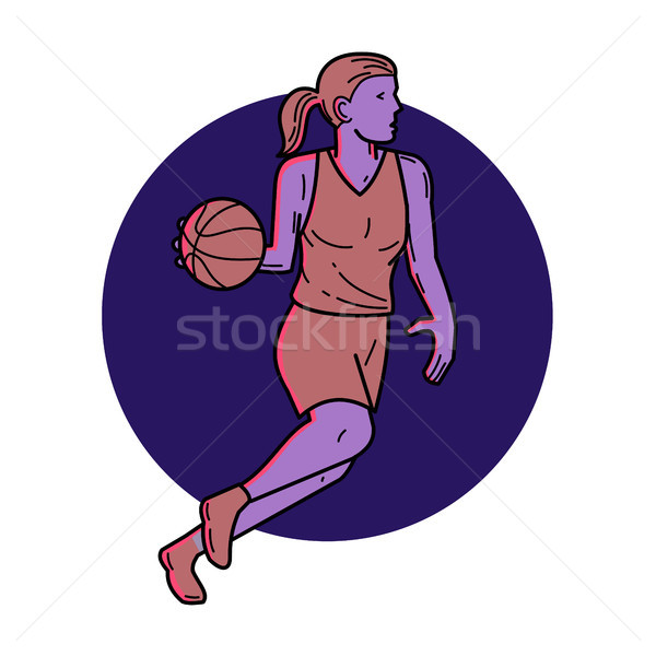 Woman Basketball Player Dribbling Mono Line Art Stock photo © patrimonio