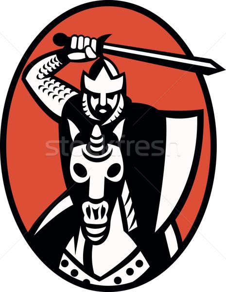 Knight Crusader With Sword Riding Horse Retro Stock photo © patrimonio